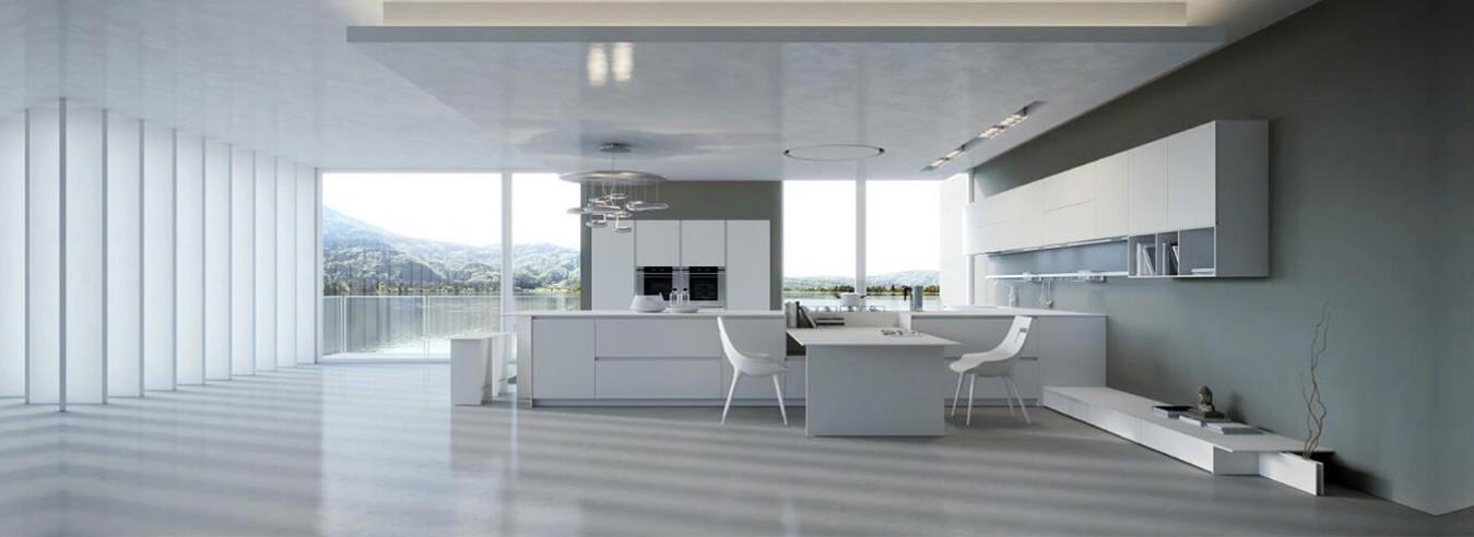 quầy bar, bàn ăn, tủ bếp thiết kế hiện đại