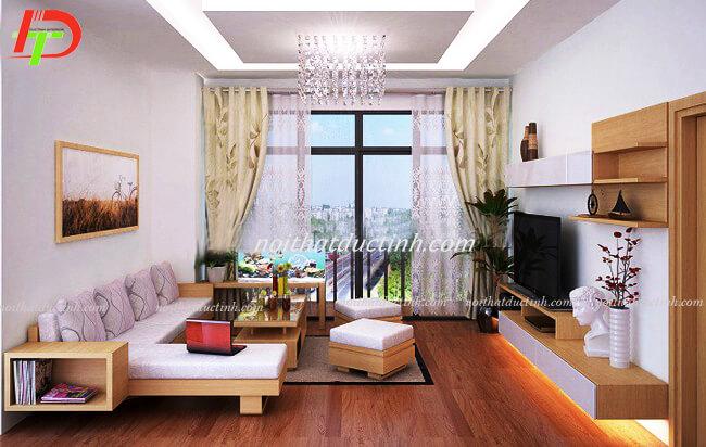 Bàn ghế gỗ cho phòng khách nhỏ BG16