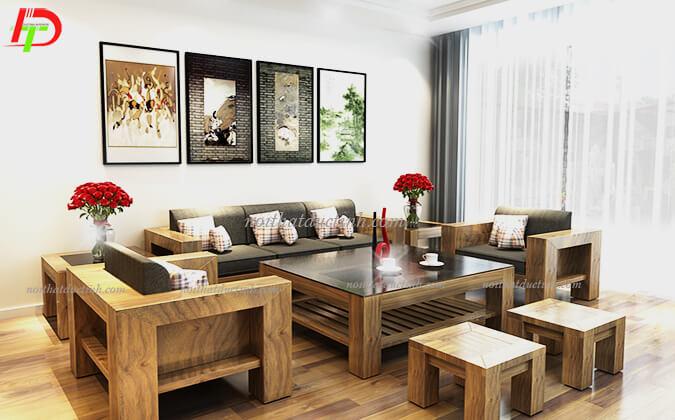 Mẫu bàn ghế gỗ phòng khách BG25