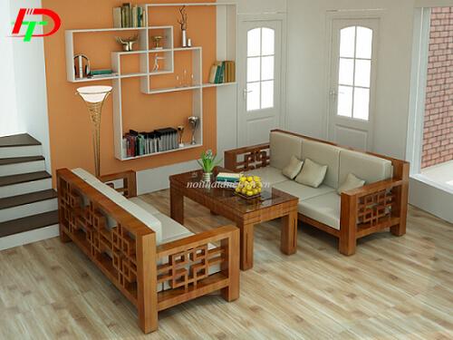 Bàn ghế gỗ phòng khách nhỏ BG24