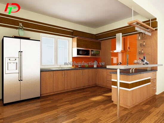 Quầy bar gia đình kết hợp tủ bếp QB15