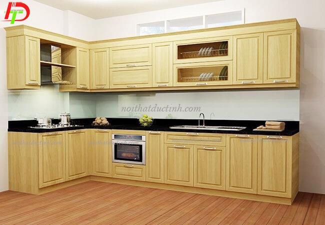 Tủ bếp gỗ tự nhiên chữ L TB12