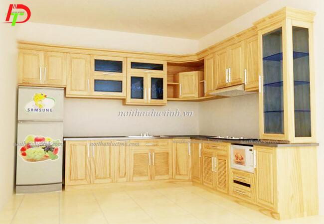 Tủ bếp gỗ tự nhiên - gỗ Sồi Nga TB19