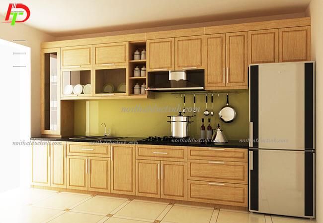 Tủ bếp gỗ tự nhiên - gỗ xoan đào TB02