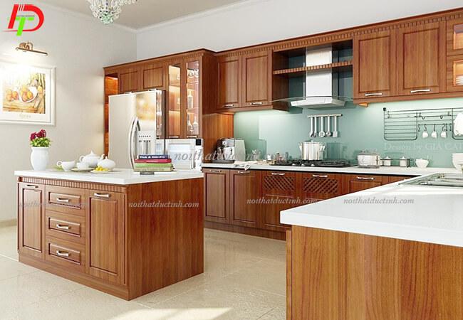Tủ bếp gỗ tự nhiên - gỗ xoan đào TB17
