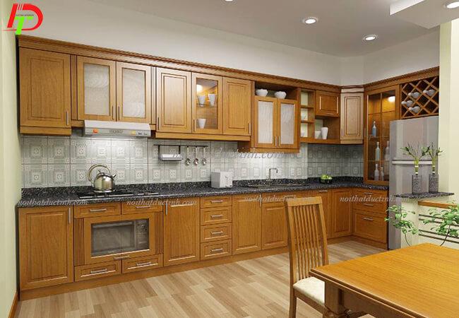 Tủ bếp gỗ tự nhiên hiện đại TB15