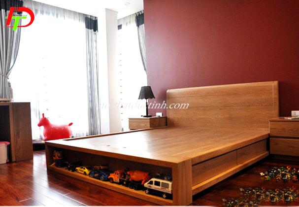 Giường ngủ đẹp gỗ xoan đào có hộc kéo GN52