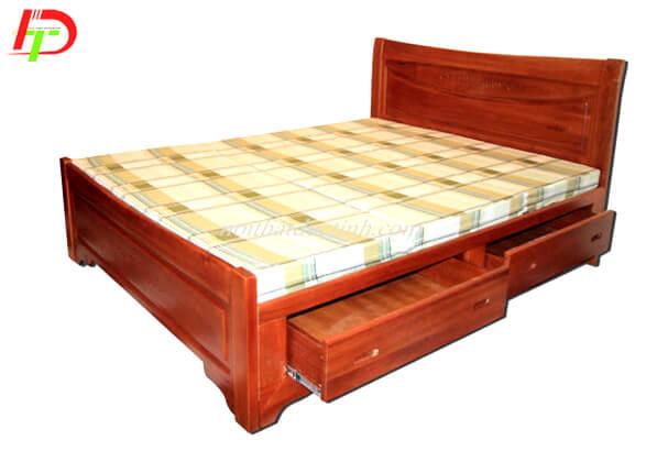 Giường ngủ gỗ xoan đào có hộc kéo GN54