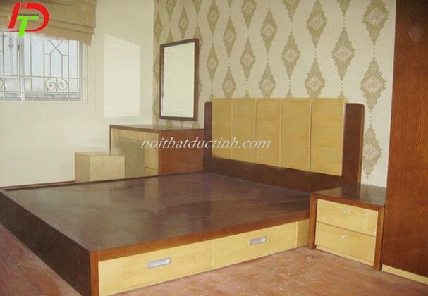 Mẫu giường ngủ gỗ có hộc kéo GN58