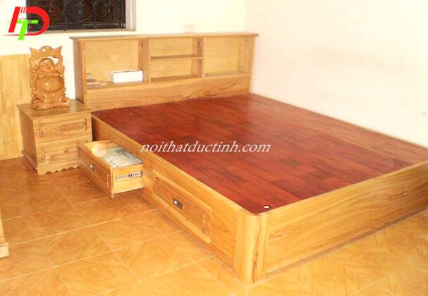 Mẫu giường ngủ có hộc kéo kết hợp kệ trang trí GN59