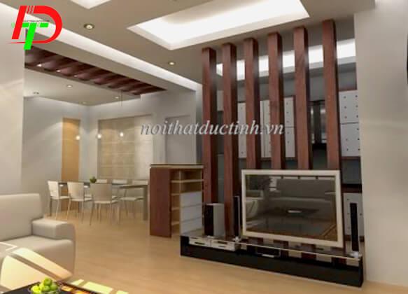 Vách ngăn phòng khách và phòng bếp gỗ dạng cột VNP19