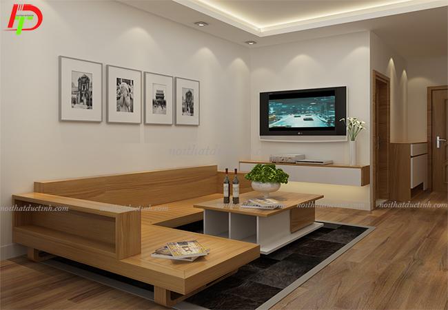 bàn ghế phòng khách gỗ sồi nga hiện đại
