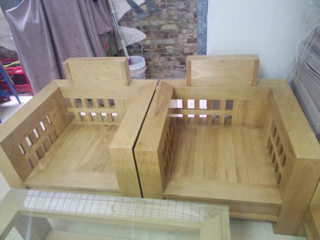 bộ bàn ghế gỗ phòng khách thực tế
