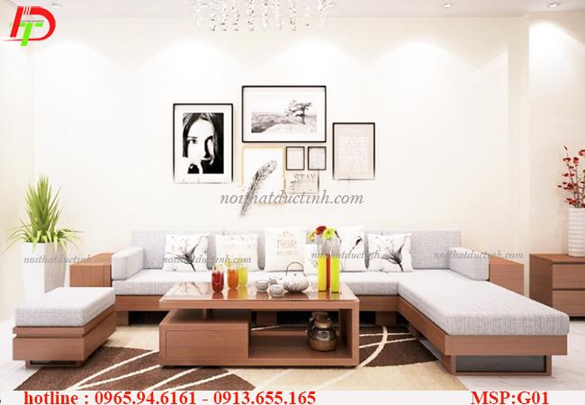 Phòng khách nhẹ nhàng với sự kết hợp của bàn ghế gỗ và sắc trắng chủ đạo