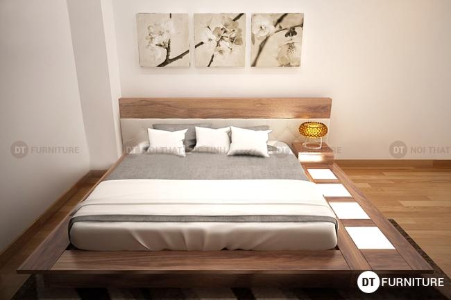 Mẫu giường ngủ kiểu nhật gỗ óc chó đẹp nhất 2016
