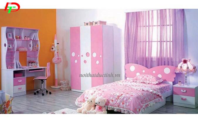 giường ngủ bé gái màu hồng đẹp mắt
