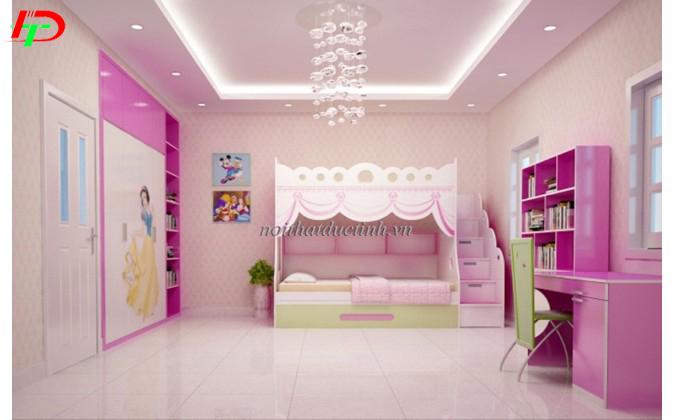 giường ngủ trẻ em màu hồng cho bé gái