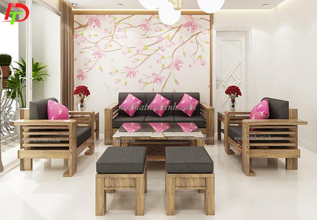 bàn ghế phòng khách kết hợp đệm da cao cấp