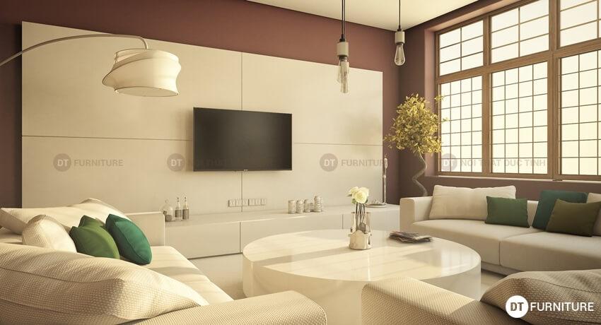Thiết kế nội thất phòng khách sang trọng theo gam màu sáng