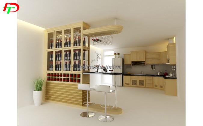 quầy bar kết hợp tủ rượu hiện đại