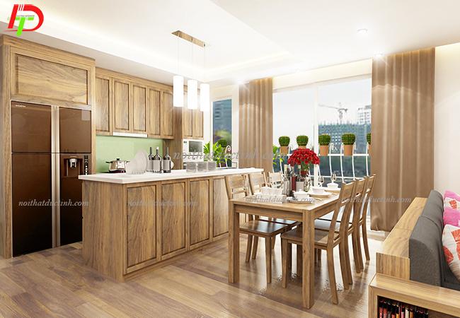 mẫu tủ bếp gỗ tự nhiên bền đẹp