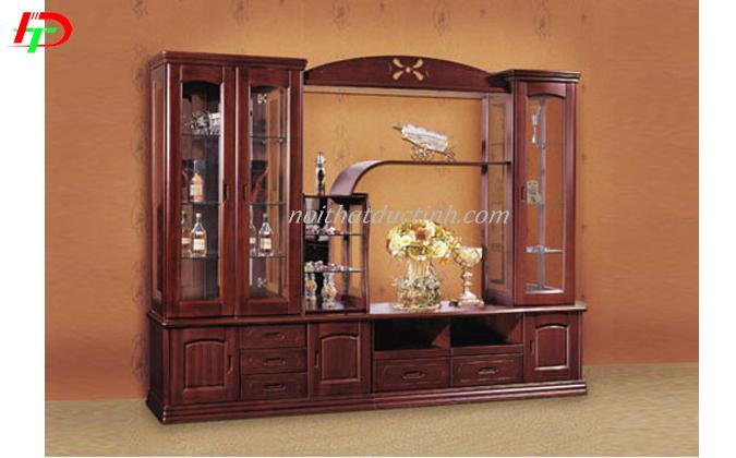 Mẫu tủ rượu kết hợp kệ trang trí