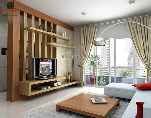 mẫu vách ngăn phòng khách và phòng bếp đẹp sang trọng