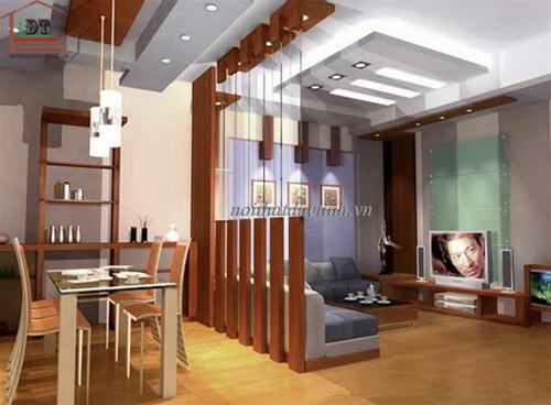vách ngăn phòng khách và phòng bếp hiện đại