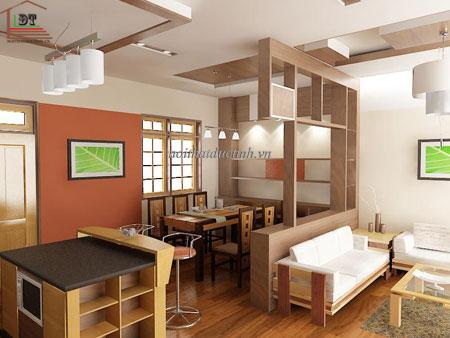 vách ngăn phòng khách và phòng ăn thiết kế đơn giản