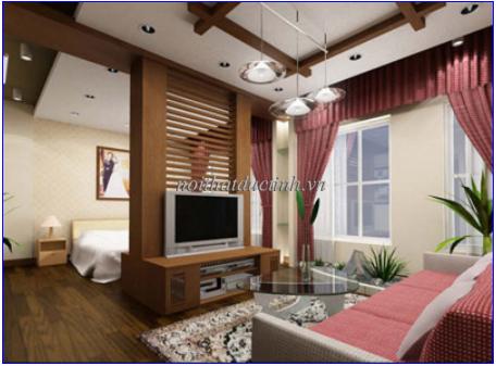 vách ngăn phòng khách và phòng ngủ đẹp hiện đại