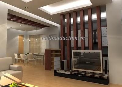 vách ngăn phòng khách và phòng bếp dạng cột chất liệu gỗ cao cấp