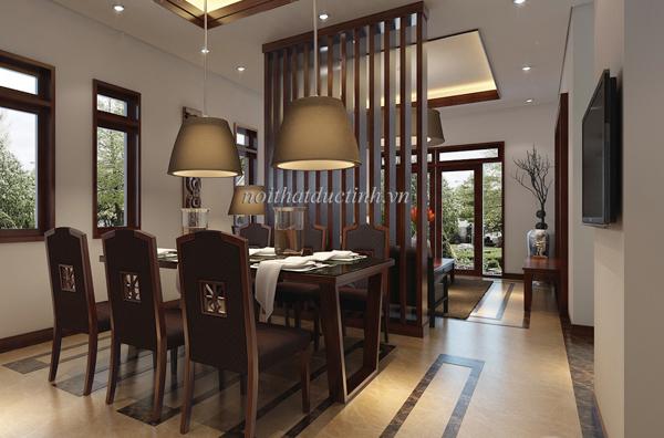 Vách ngăn phòng khách và phòng bếp đẹp, hiện đại
